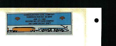 Nice Robinson Run  Consol Coal Co  Coal Mining Sticker   841
