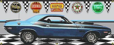 1970 DODGE CHALLENGER TA SIX PACK BLUE CAR GARAGE SCENE BANNER SIGN ART 2' X 5'