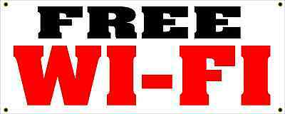 Free Wi-fi All Weather Banner Sign 4 Bar Hotel Coffee Shop Convience Store