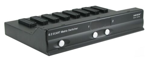 6x2 SCART MATRIX ROUTING SWITCHER Selector Switch w/ AUDIO NEW