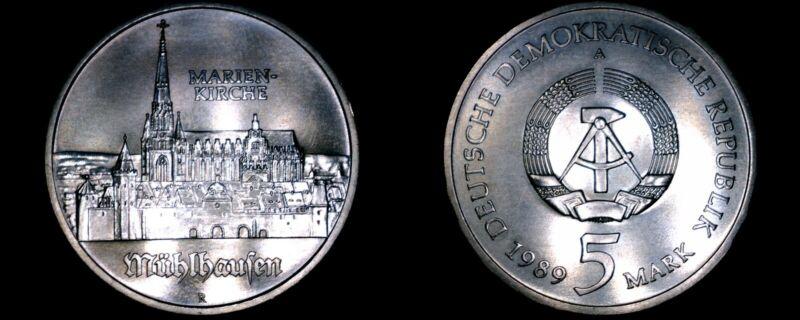 1989-A German Democratic Republic 5 Mark Coin -  East Germany -  Marien Kirche