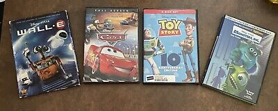 4 Disney Pixar DVD - Cars, Monsters Inc, Toy Story (no Bonus Disc), & Wall-e