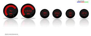 Intellitronix Complete Digital 6 Gauge Set Red LEDs W Senders Black Bezels Dash