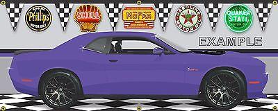 DODGE CHALLENGER PLUM CRAZY HEMI SHAKER HOOD MOPAR GARAGE ART BANNER MURAL 2/'X4/'