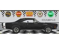 1969 DODGE CORONET RT BLACK MOPAR MUSCLE GARAGE SCENE BANNER SIGN ART MURAL 2X5