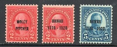 Scott 646, 647, 648  VF/XF  M/NH/OG Set 1928 Molly Pitcher, Hawaii 2c 5c Singles
