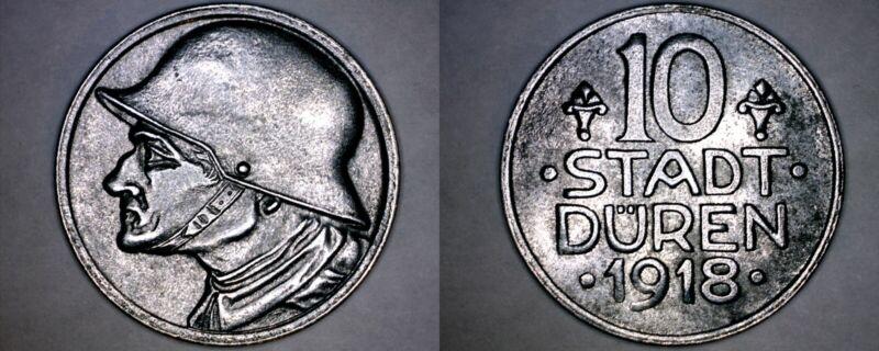 """1918 German 10 Pfennig Kriegsgeld World Coin - Duren Germany Notgeld - No """"SD"""""""