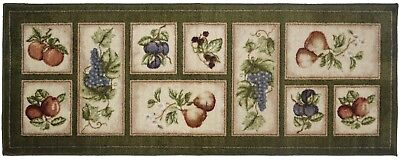 2X5 Kitchen Runner Rug Green Beige Washable Mat Fruit Grapes Apples Non-Slip