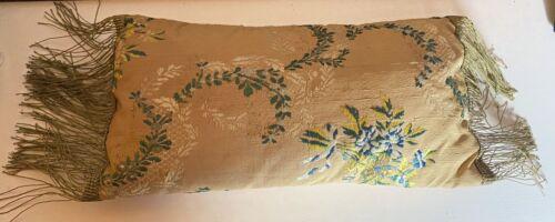 Antique French Silk Brocade Kidney Pillow with Gold Metallic Fringe Trim. VV976