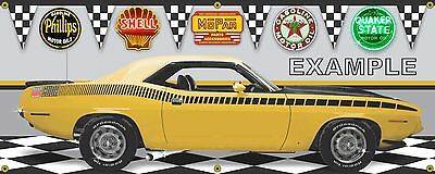1970 PLYMOUTH AAR CUDA LEMON TWIST YELLOW GARAGE SCENE BANNER SIGN ART 2' X 5'