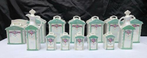 Vintage 14 Piece Mepoco Luster Ware Germany Glass Canisters/Spice Oil Holders
