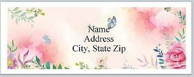 Personalized Address Labels Pink Flowers Butterflies Buy 3 Get 1 Free P 415