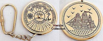 Vintage Nautical 40 Years Perpetual Calendar Keychain Brass Keychain Key Ring