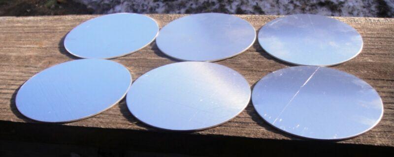 Lot of Six 5052 Aluminum Round Discs 4 1/4 inch in diameter & 1/16 inch thick