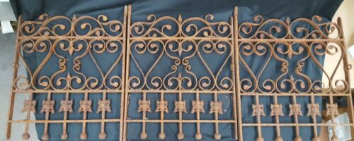 Architectural Salvage 3 Piece Matching Ornate Wrought Iron Window Grates