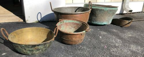 antique copper bowls - Lot of 5 - garden planters