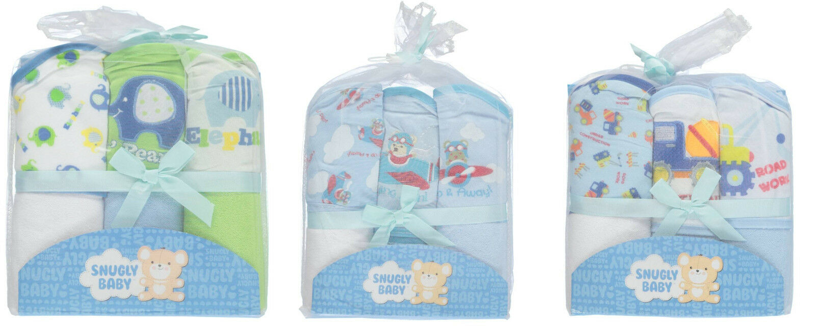 Snugly Baby Boys Hooded Towels 3-pack BRAND NEW!!!!!