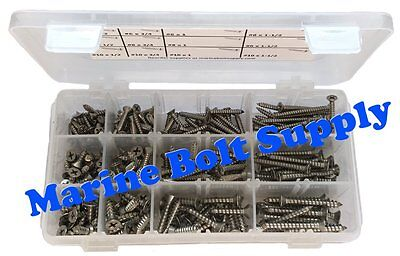 Type 316 Stainless Steel Phillips Drive Flat Sheet Metal Screw Assortment Kit