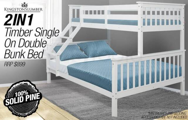 Single On Double Bunk Bed 2in1 Kids Timber Rrp 899 Beds Gumtree