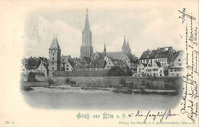 Ulm Germany Gruss aus Church View Scenic Antique Postcard J39610