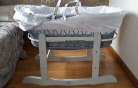 NEW Moses Basket with stand, mattress, 2 white and 2 grey sheets.