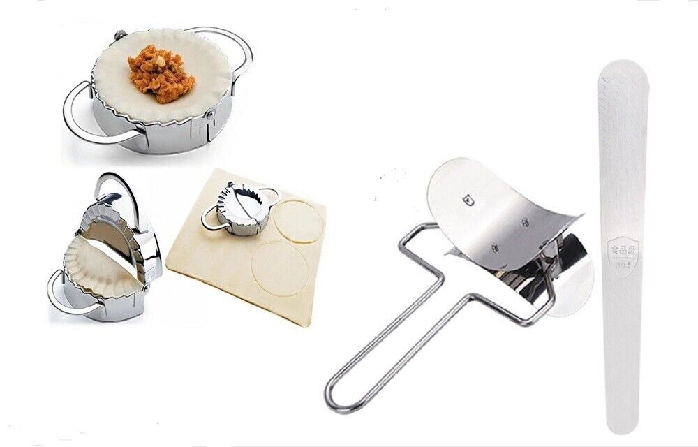3Ps Dumpling Mould Maker Wraper set Dough Presser Stainless Steel Stuffing Spoon Home & Garden