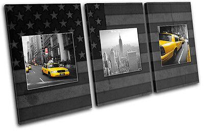 New York Yellow Taxi Flag  City TREBLE Leinwand Wand Kunst Bild drucken New York, New York City Flag