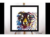 """""""Maisie"""" an abstract blackface sheep original art"""