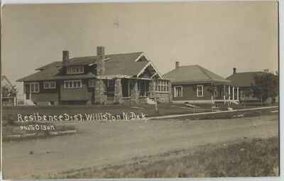 1910 Williston North Dakota Real Photo RPPC Postcard Residence Street by Olson