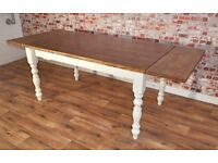 Extending Pine 4ft to 6ft Farmhouse Dining Kitchen Table - Free Delivery