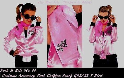 Rock & Roll 50s 60s  car hop GREASE Pink Lady Costume Chiffon Rhinestone Scarf - Car Hop 50s Costume