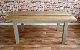 Chunky Hardwood Slab-Style Rustic Dining Table Six-Seater Oak Farmhouse Table - Brand New