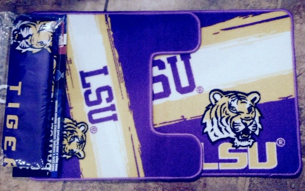 LSU Tigers NCAA 15-Piece Bath Bathroom Set Shower Curtain Ru