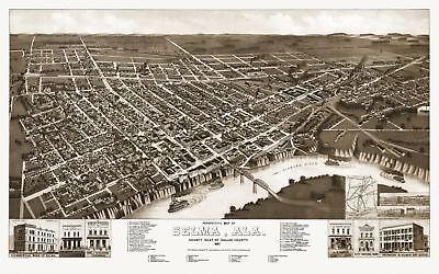 (24x36 Vintage Reproduction Historical Map Selma Alabama Dallas County 1887)