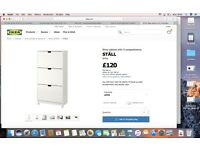 Shoe Cabinet Ikea Ställ, white, 3 compartments, 79 x 148 cm