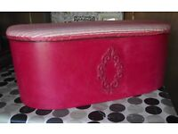 Antique handpainted blanket box with padded lid