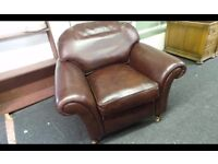 Laura Ashley Mortimer Chair,Brown Leather In Very Good Condition,Can Deliver