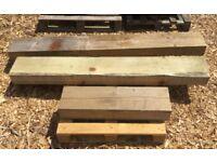 3x pieces wooden Railway Sleeper
