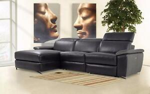 SALE!  Black Top Grain Leather Power Reclining Sectional Sofa! FREE shipping in Vancouver!