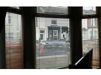 Wooden venetian blinds x 3 for bay window