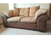 DFS 2 x Soft Leather & Material Mix 3 Seater Sofas ( will sell separately)