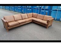 CLASSIC DANISH BROWN LEATHER CORNER SOFA,CAN DELIVER