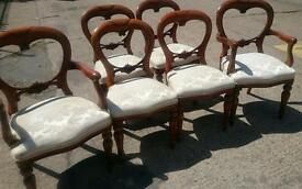 set of 6 victorian repro carved dining chairs