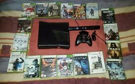 Microsoft Xbox 360 Slim 120GB with 18 games and Kinect