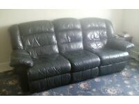2 and 3 seater navy blue leather reclining sofa set