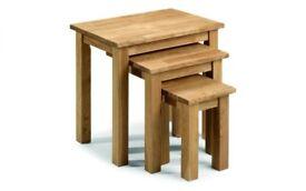 Coxmoor oak nest of 3 tables. New.