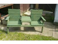 Garden bench with table in middle