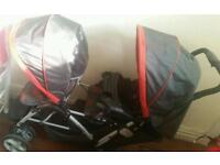 Graco double pram pushchair buggy stroller with every thing