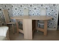 Large Folding Dining Table + Cream Faux Leather Chairs