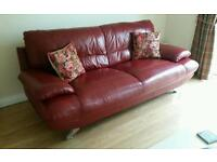 Harveys 3 seater leather sofa and chair